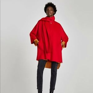 Zara red Coat with draped collar NWT size LARGE